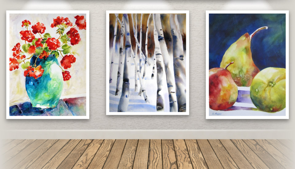 red flowers | birch trees | pears